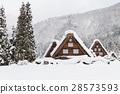 Gifu _ Shirakawago snow scene 28573593