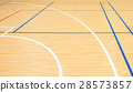 Wooden floor of sports hall with marking lines  28573857