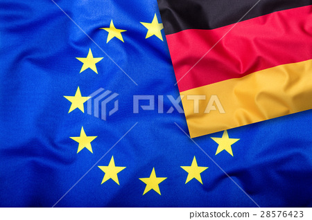 Flags of the Germany and the European Union.  28576423