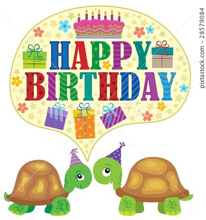 Happy birthday theme with turtles 1 28579084
