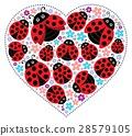 Valentine, ladybugs, vector 28579105
