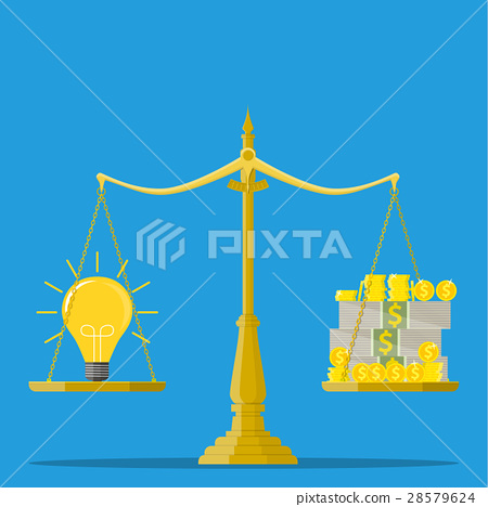 Idea and money stack balance on libra. 28579624