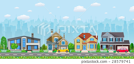 Private suburban houses with car, 28579741