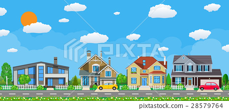 Private suburban houses with car, 28579764