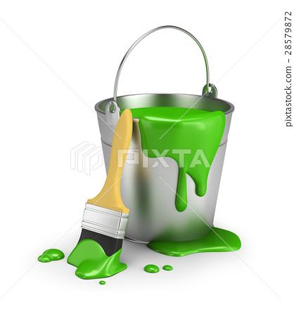 bucket of green paint 28579872