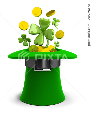 St Patricks hat with coins and clovers 28579878