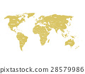 Golden political World map with country borders 28579986