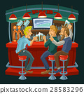 Cartoon illustration of friends drinking beer in a 28583296