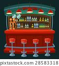 Cartoon illustration the interior of the pub 28583318