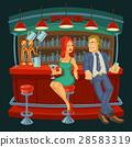 Cartoon illustration of man meets a woman in  bar 28583319