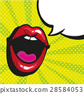 Sexy open female mouth screaming pop art style 28584053
