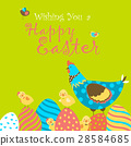 Bunnies,chicken and easter eggs 28584685