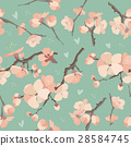 Seamless spring flowers on tree branch pattern 28584745
