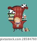 Little girl reading a book 28584760
