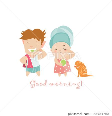 Boy brushing teeth and cute girl painting 28584768