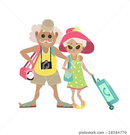Illustration of an Elderly Couple Traveling 28584770