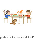 Illustration of children eating on a white 28584785