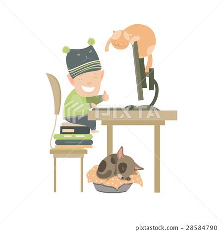 Little boy sitting at computer  28584790