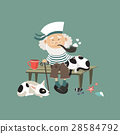 Old sailor sitting on bench with cat and dog 28584792