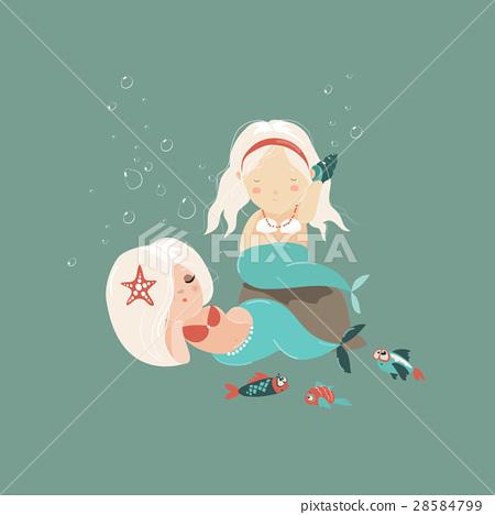 Two little beautiful mermaid girls 28584799
