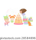 Kids celebrating Birthday with gifts and cake 28584896