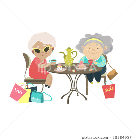 Two old women talking in a cafe after shopping 28584957
