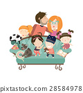 Happy kids with parents and pets 28584978