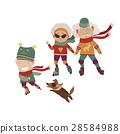 Cartoon active grandparents with grandson 28584988