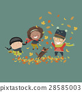 Kids playing with autumn leaves 28585003