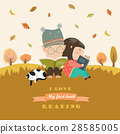 Kids reading book at autumn meadow 28585005