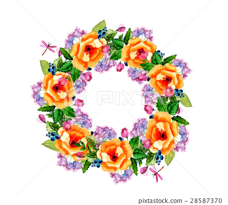 Watercolor flower roses wreath 28587370