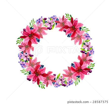 Watercolor flower roses wreath 28587375