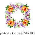Watercolor flower roses wreath 28587383