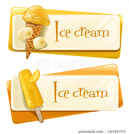 Vector set of banners with ice cream 28589703