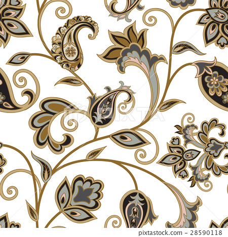 Floral seamless pattern. Swirl flower background 28590118