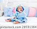 baby, bathrobe, towel 28591364