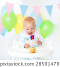 Little baby boy celebrating first birthday 28591479
