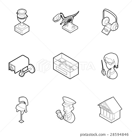Items in museum icons set, outline style 28594846