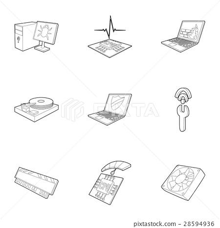 Computer setup icons set, outline style 28594936