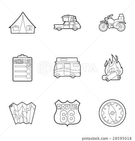 Nature trip icons set, outline style 28595018