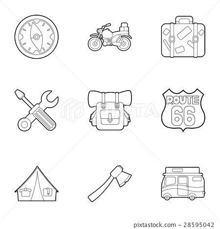 Camping icons set, outline style 28595042