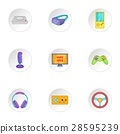 Video games icons set, cartoon style 28595239