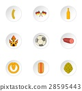 Stay in Germany icons set, cartoon style 28595443