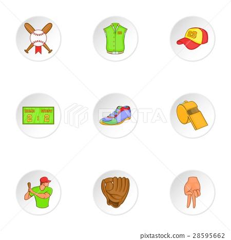 Championship with bat icons set, cartoon style 28595662
