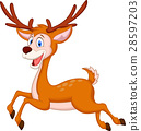 Cute deer cartoon running 28597203
