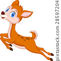 Cute baby deer cartoon jumping 28597204