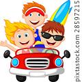 Young man and woman having fun driving their car o 28597215