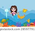 Cute mermaid cartoon waving hand 28597791