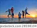 beach, sunset, jumping 28598104