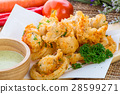 Fried squid rings with green hot spicy sauce 28599271